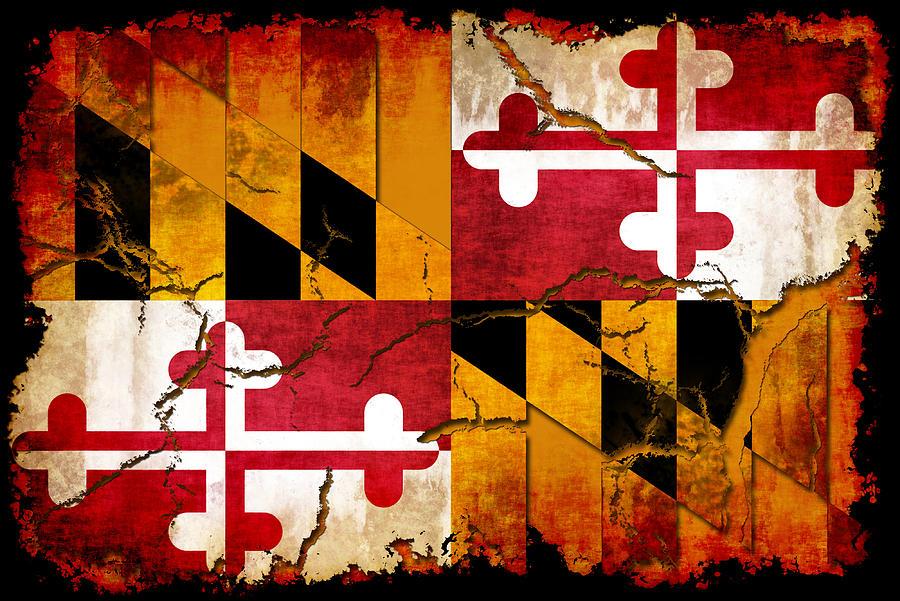 Ideal Maryland Grunge Style Flag Digital Art by David G Paul XK64