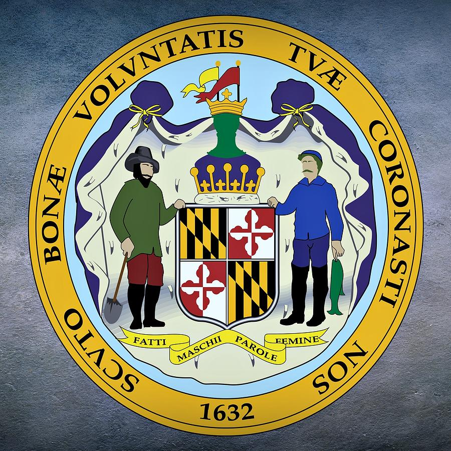 Maryland Digital Art - Maryland State Seal by Movie Poster Prints