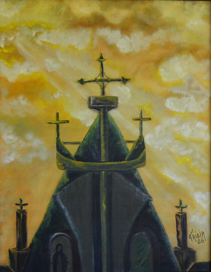 Crosses Painting - Marys Cathedral In The Sky by Tricia Concienne