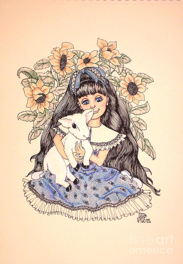Girl Drawing - Marys Lamb by Lenora Brown