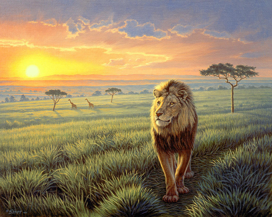Wildlife Painting - Masai Mara Sunset by Paul Krapf