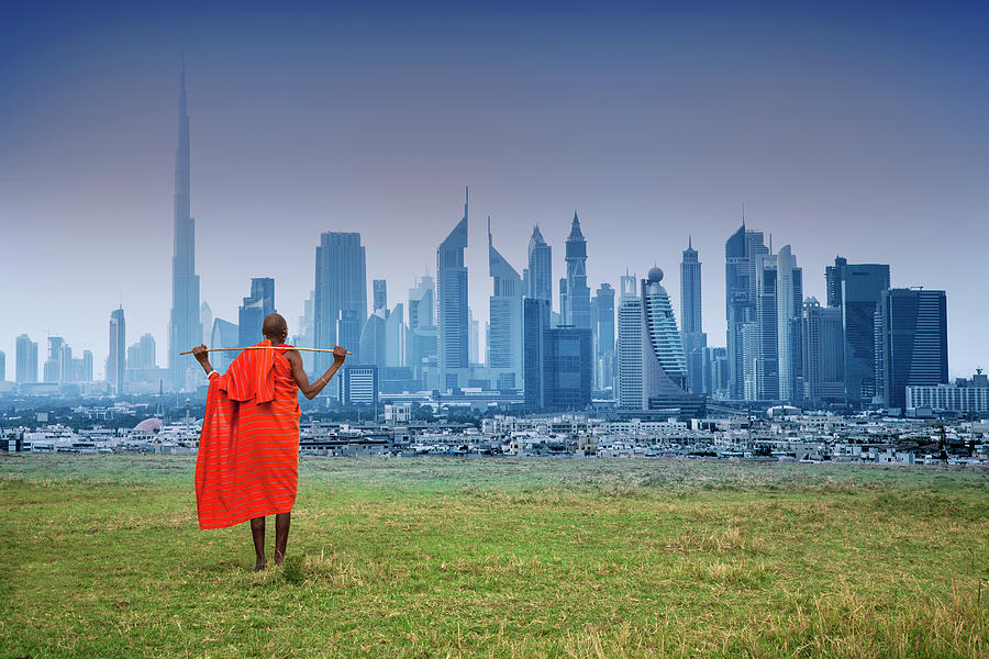 Masai Shepherd Watching Futuristic City Photograph by Buena Vista Images