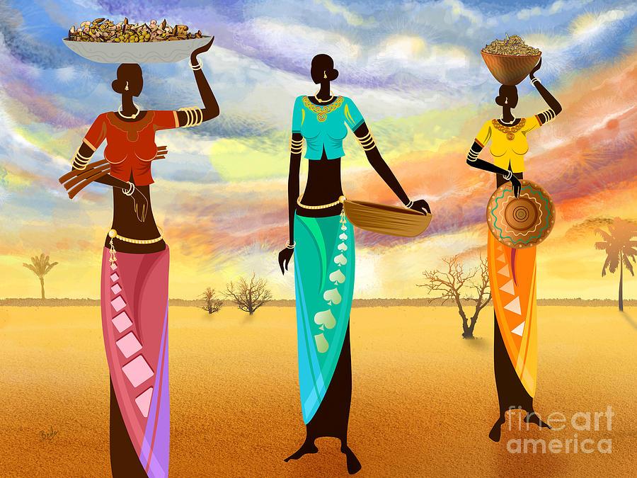 Masai Digital Art - Masai Women Quest For Grains by Peter Awax