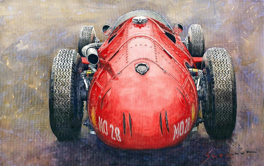 Watercolor Painting - Maserati 250f Back View by Yuriy Shevchuk