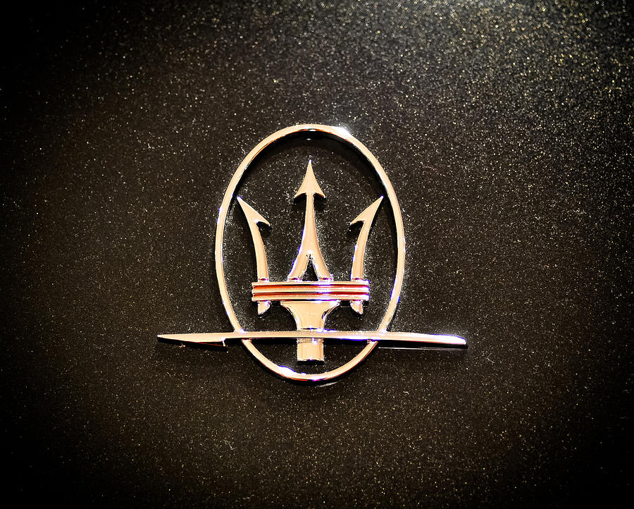 Car Shows Photograph - Maserati Logo by Ronda Broatch