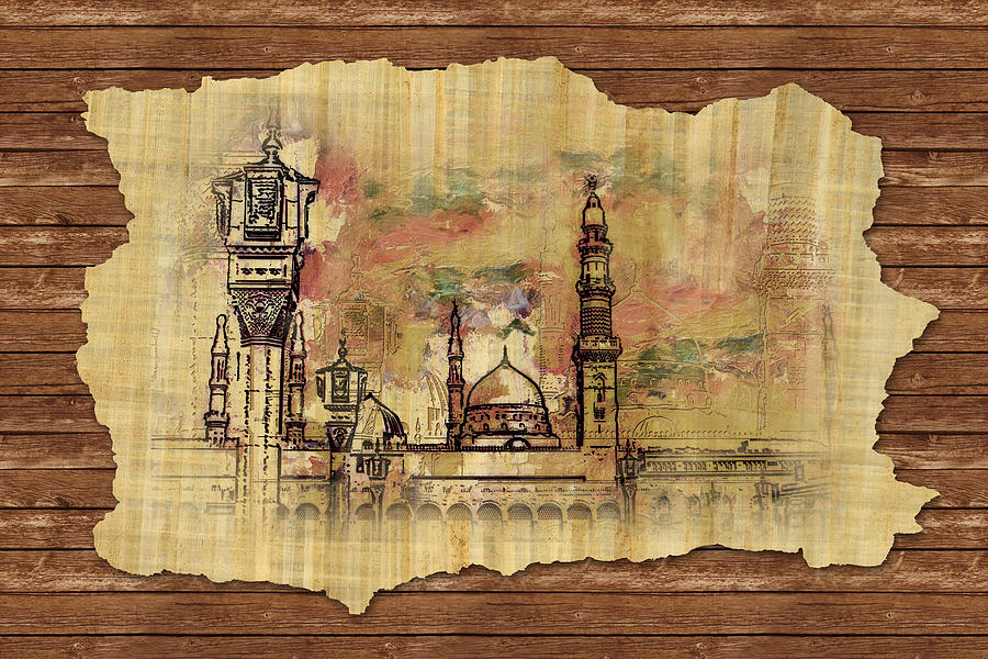 Islamic Painting - Masjid E Nabwi Sketch by Catf