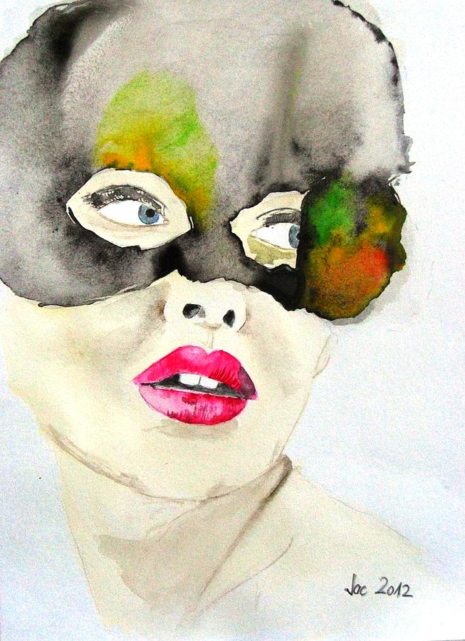 Mask In Watercolor Painting by Jacqueline Schreiber