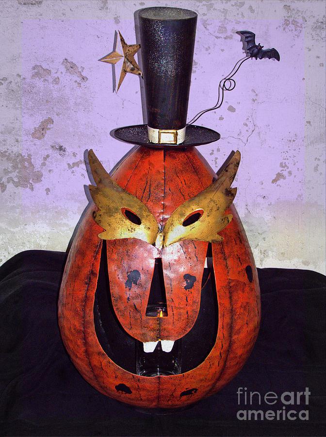 Halloween Photograph - Masquerade Mask Pumpkin - Halloween Art by Ella Kaye Dickey