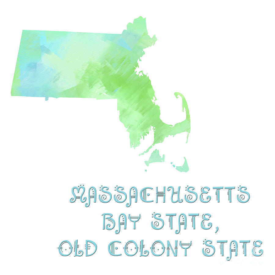 Massachusetts - Bay State - Old Colony State - Map - State Phrase - Geology Digital Art by Andee Design
