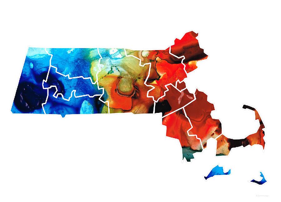 Massachusetts Painting - Massachusetts - Map Counties By Sharon Cummings by Sharon Cummings