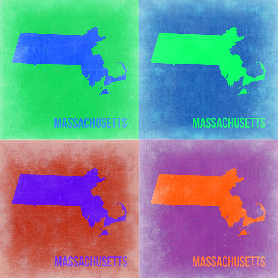 Massachusetts Map Painting - Massachusetts Pop Art Map 2 by Naxart Studio