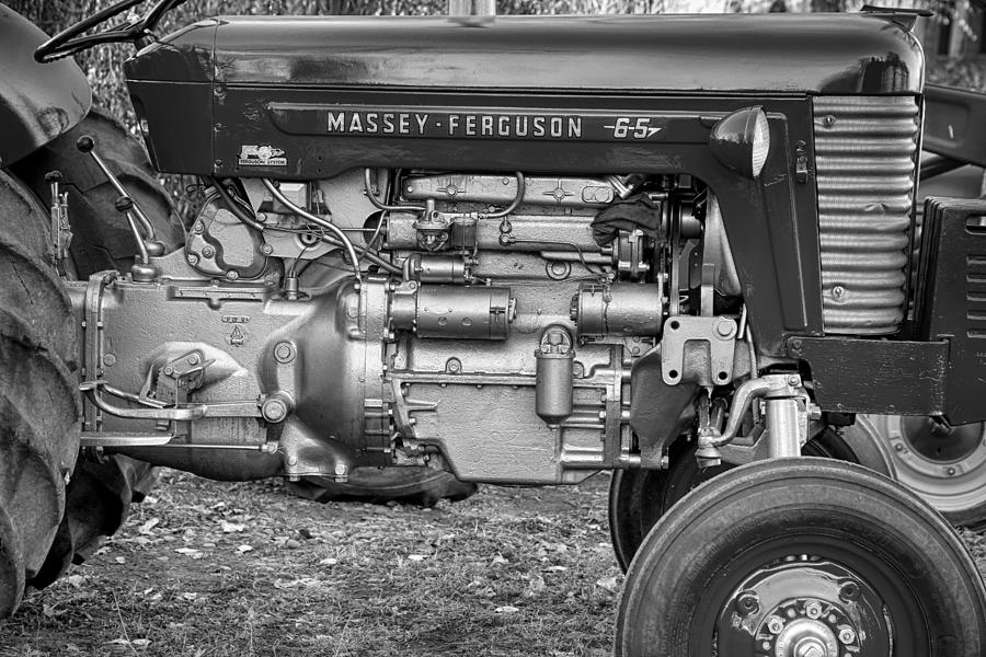 Tractor Photograph - Massey - Feaguson 65 Engine Black And White by James BO Insogna