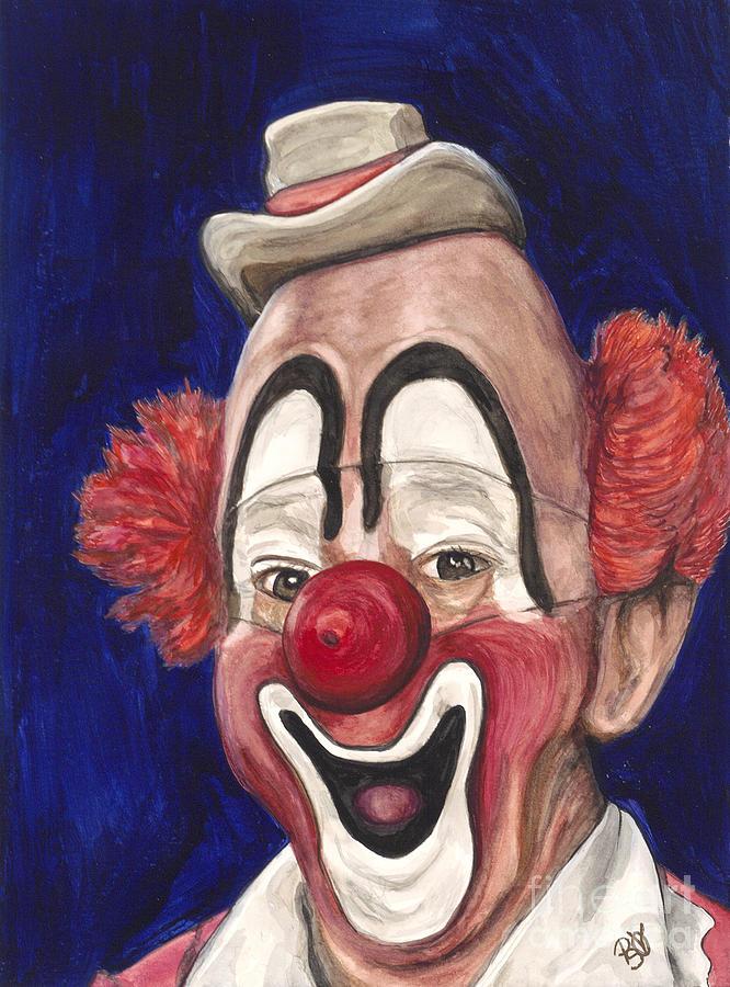 Clown Portrait Painting - Watercolor Clown #3 Lou Jacobs by Patty Vicknair