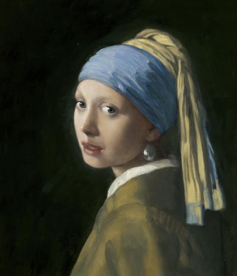 Johannes Vermeer Painting - Master Copy Of Vermeer Girl With A Pearl Earring by Terry Guyer