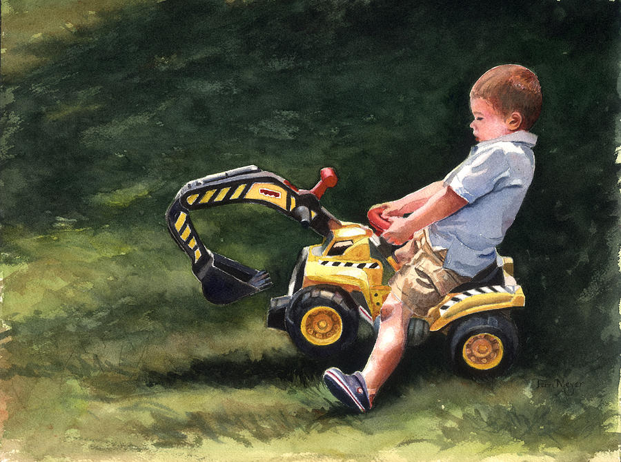 Little Boy Painting Painting - Mastering The Backhoe by Terri  Meyer
