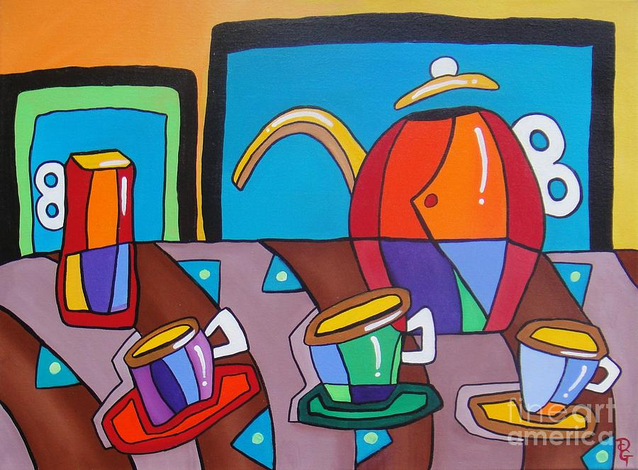 Coffee Cup Painting - Matching Set by Deborah Glasgow