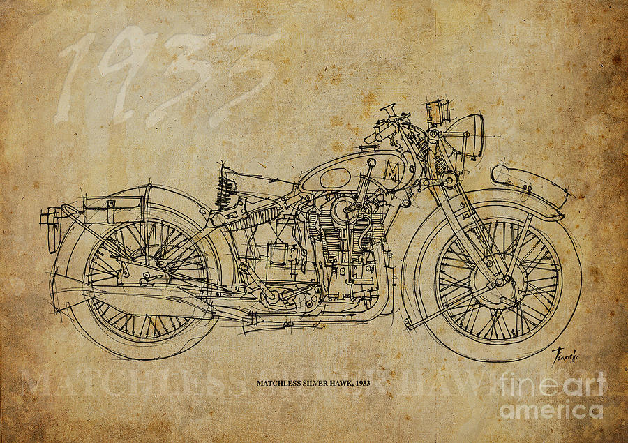 1933 Drawing - Matchless Silver Hawk 1933 by Drawspots Illustrations