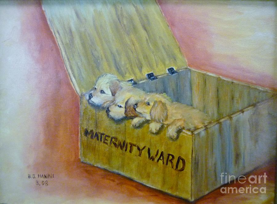Puppies Painting - Maternity Ward by Beverly Hanni