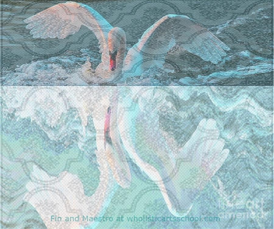 Swan Art Painting - Mating Dance Of The Swan by PainterArtist FIN