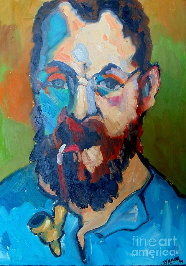 Matisse Self Portrait With Pipe John Malone on Large Metal Wall Art