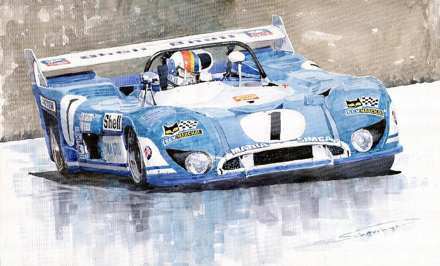 Watercolor Painting   1973 Matra Simca 670b Francois Cevert By Yuriy  Shevchuk