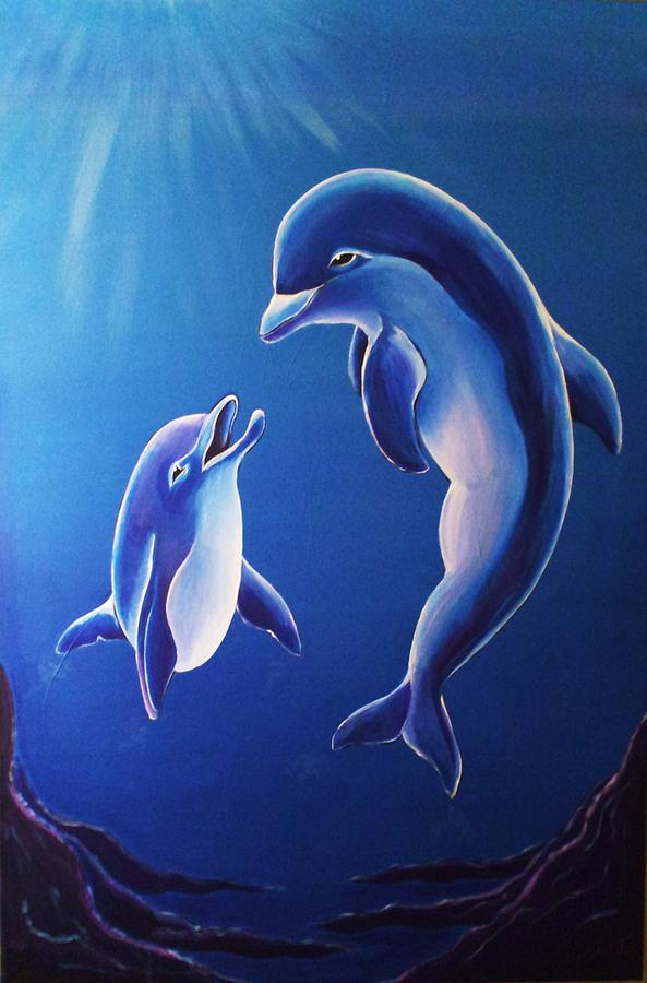 Dolphin Painting - Matriarch Of The Ocean by Deborah  Heins