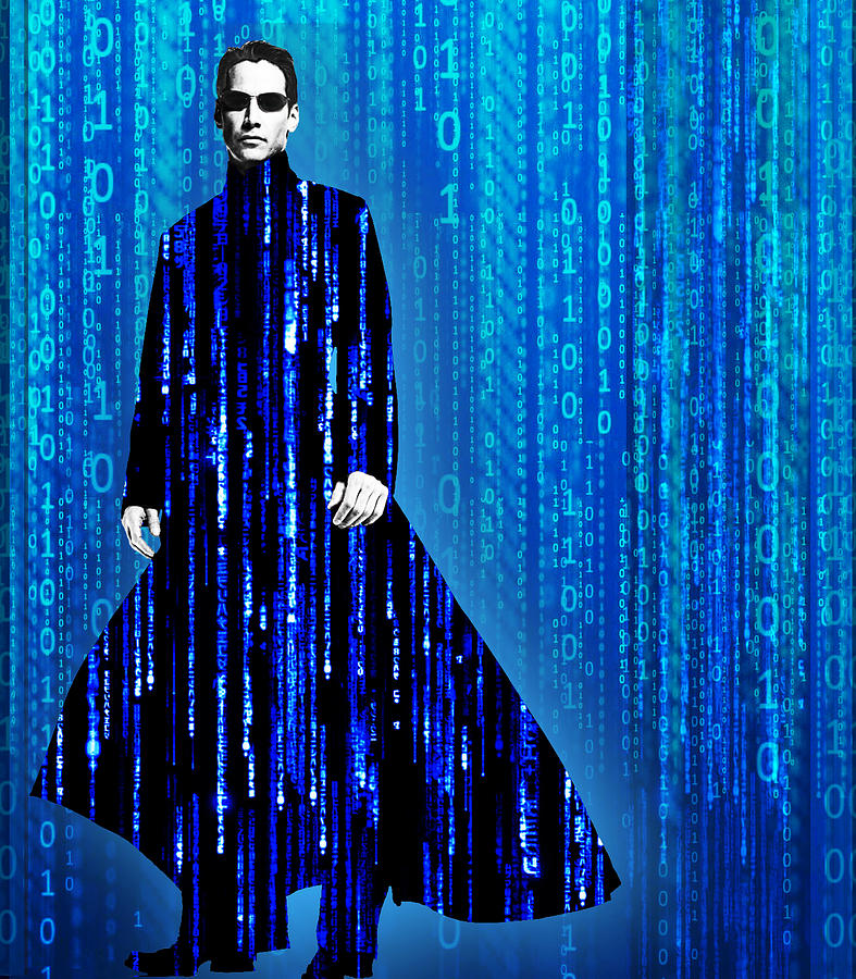 Matrix Painting - Matrix Neo Keanu Reeves by Tony Rubino