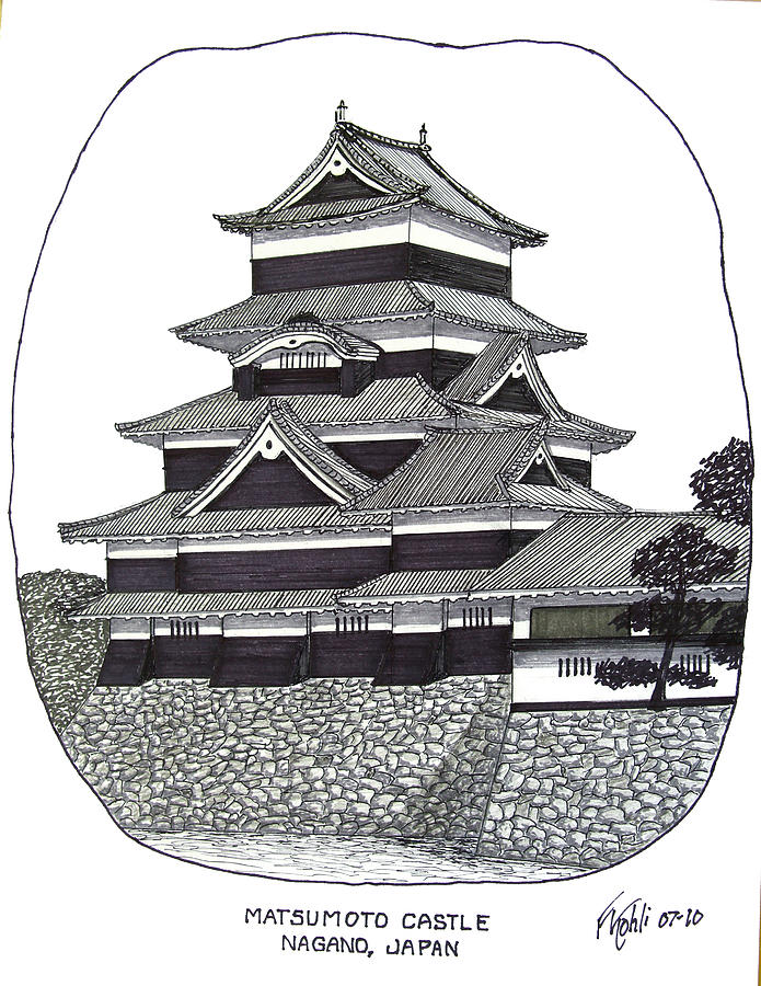Ink Drawing - Matsumoto Castle by Frederic Kohli