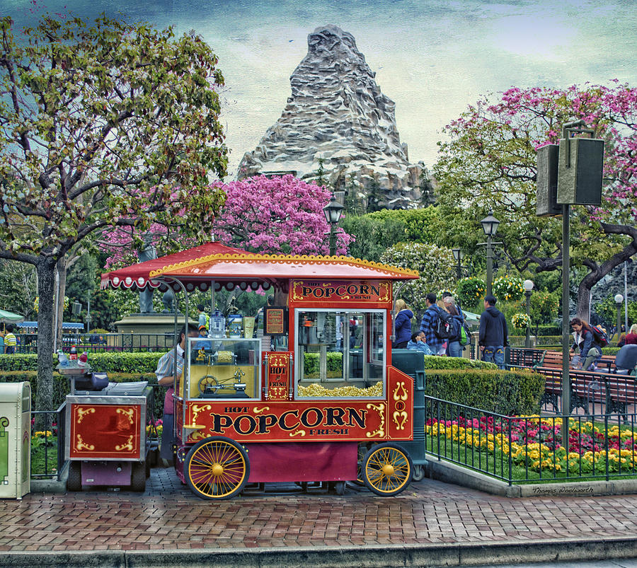 Disney Photograph - Matterhorn Mountain With Hot Popcorn At Disneyland Textured Sky by Thomas Woolworth