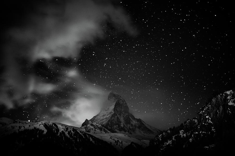 Matterhorn With Stars In Black And White Photograph by Coolbiere Photograph