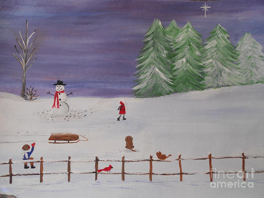 Snow Painting - Matthew 5 by Barbara McNeil