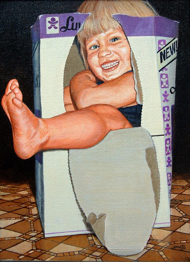 Portrait Painting - Matthew In A Box by AnnaJo Vahle
