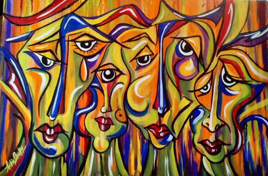Abstract Painting - Maudlin Maidens by Nickie Bradley