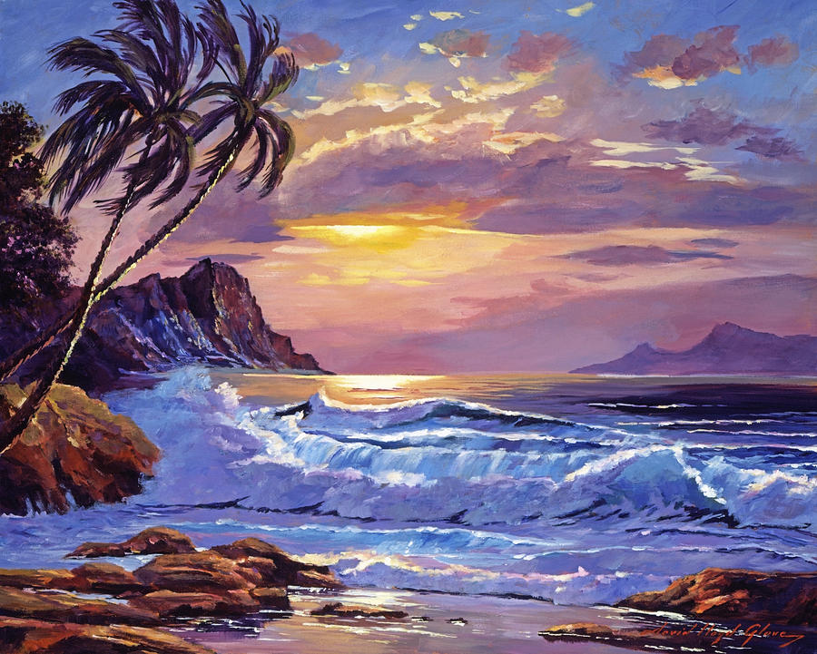 Seascape Painting - Maui Sunset by David Lloyd Glover
