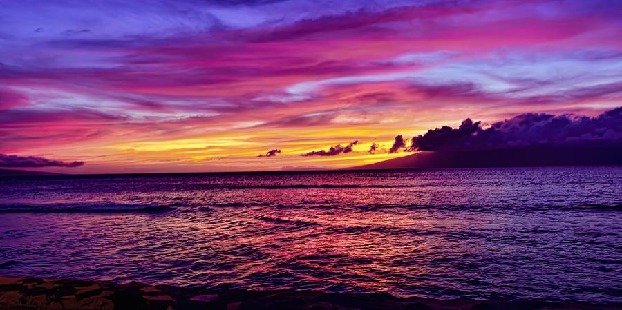 Maui Sunset Over Molokai Photograph By Bill Dodsworth