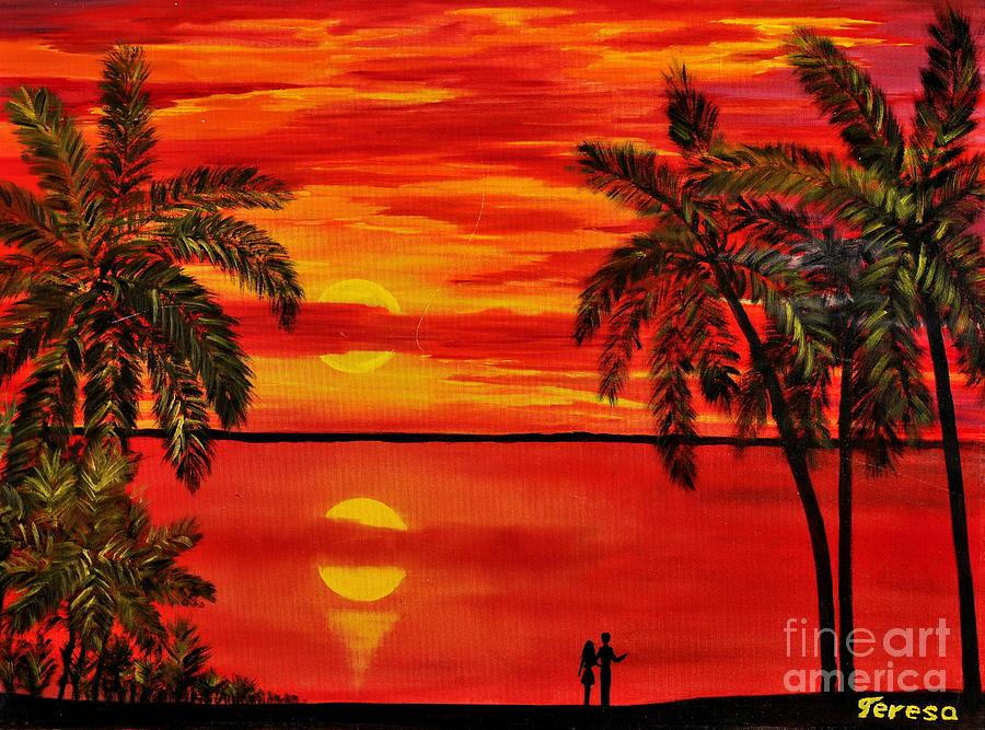 Maui Painting - Maui Sunset by Teresa Wegrzyn