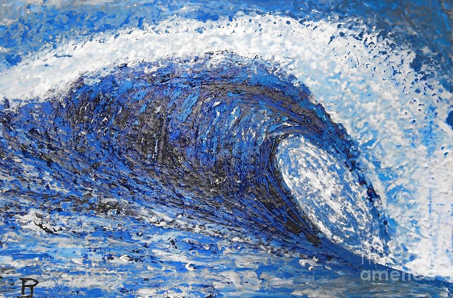 Mavericks Wave Painting by RJ Aguilar
