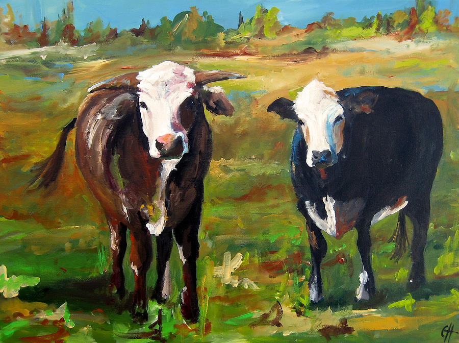 Cow Painting - Max And Ruby by Cari Humphry