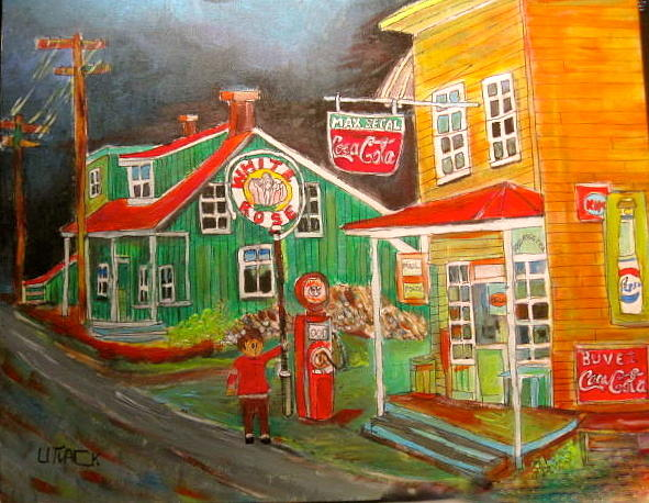 New Glasgow Painting - Max Segals New Glasgow Store Montreal Memories by Michael Litvack