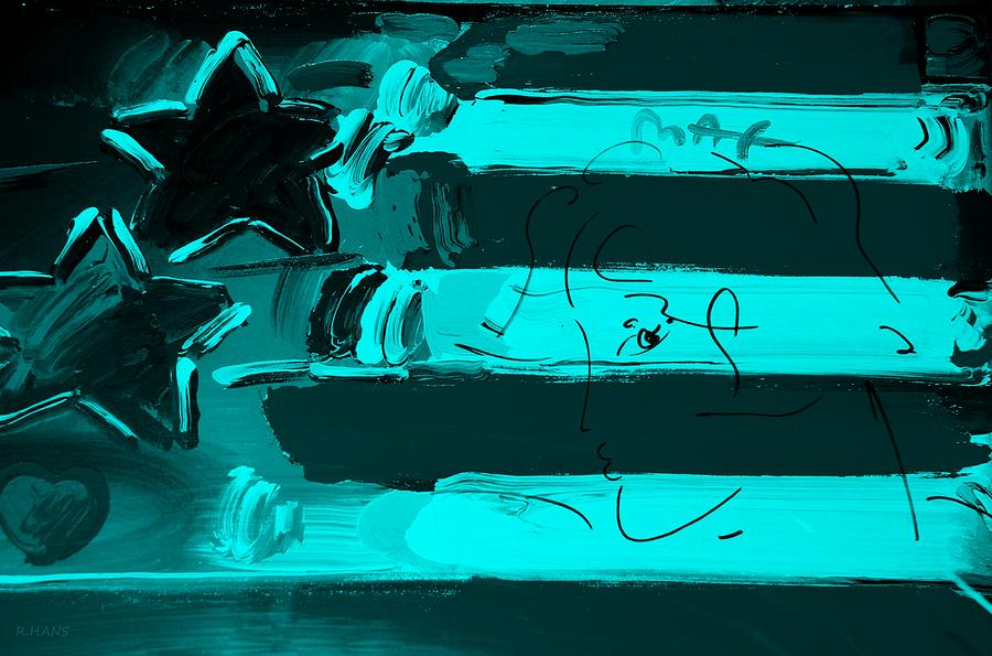 Modern Photograph - Max Stars And Stripes In Turquois by Rob Hans