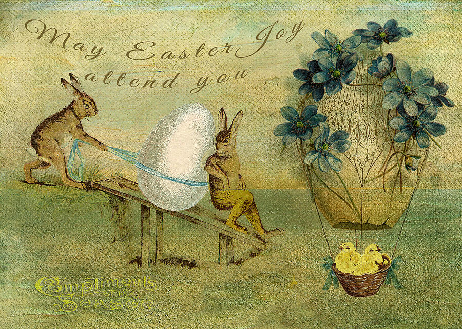 Rabbits Digital Art - May Easter Joy Attend You by Sarah Vernon