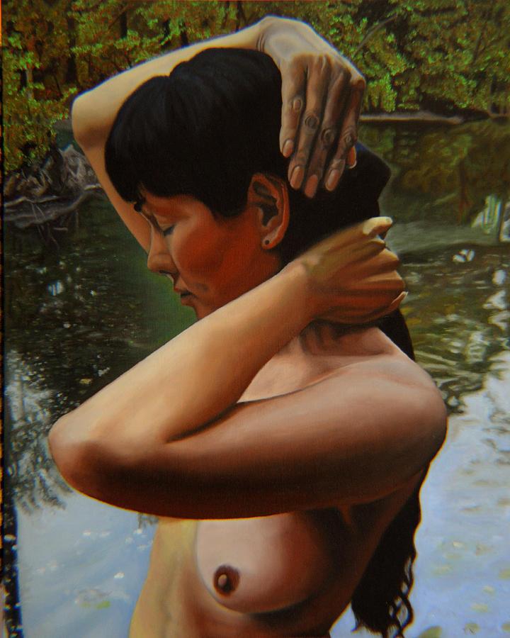 Bather Painting - May Morning Arkansas River 3 by Thu Nguyen