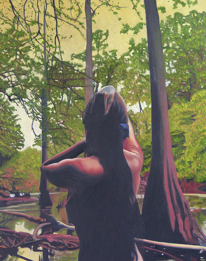 Figure Painting - May Morning Arkansas River 5 by Thu Nguyen