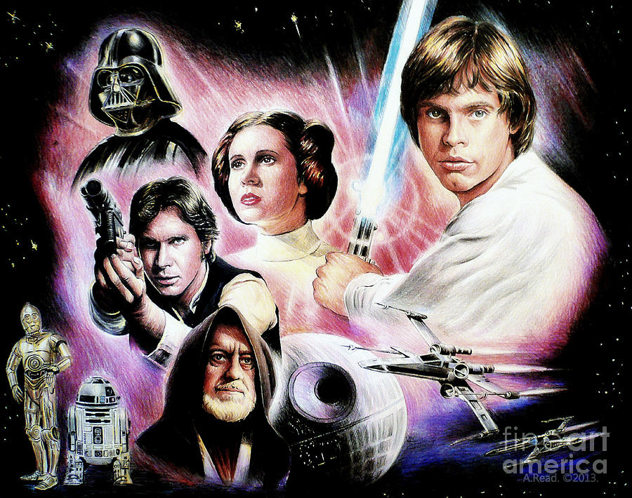 Star Wars Drawing - May The Force Be With You 2nd Version by Andrew Read