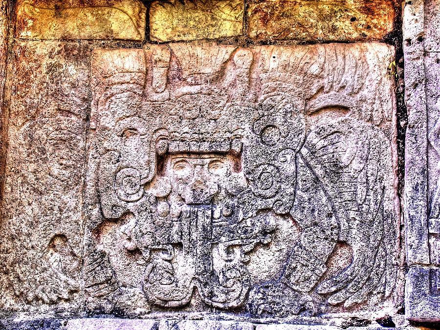 Hieroglyphics Photograph - Mayan Hieroglyphic Carving by Paul Williams