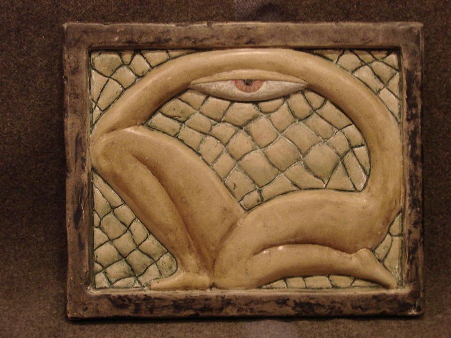 Frieze Sculpture - Mayan Kneeling Eye by Steve Mouche