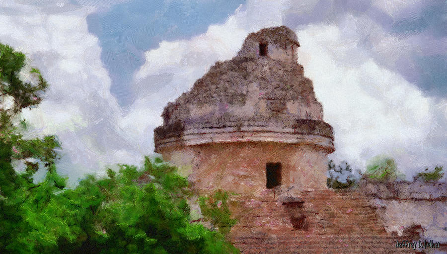 Yucatan Painting - Mayan Observatory by Jeff Kolker