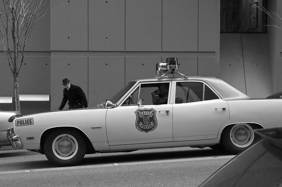 Vintage Car Photograph - Mayberry Meets Seattle - Vintage Police Cruiser by Jane Eleanor Nicholas