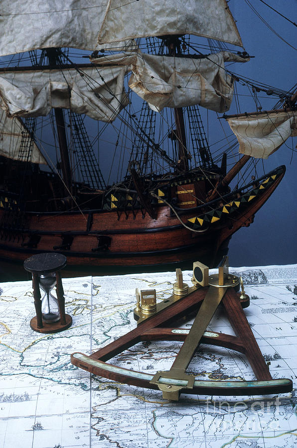 Quadrant Photograph - Mayflower Model With Quadrant by Fred Maroon