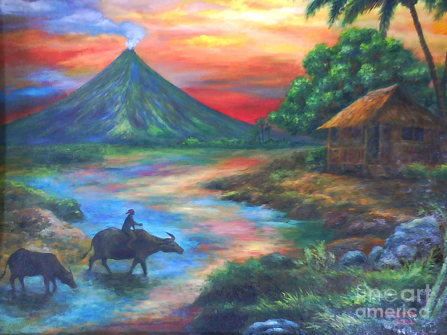 Mayon Painting - mayon sunset-repro from Amorsolos work by Manuel Cadag